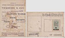 # TESSERE: TRENTO 1938 PNF - TESSERA XVII OND