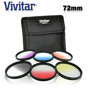 Filter Kit 72mm Rotating Graduated (6) Color RED YELLOW BLUE ORANGE GRAY PURPLE