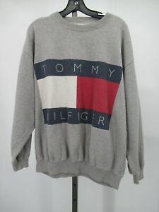H1260 VTG Tommy Hilfiger Flag Fleece Crewneck Sweater Size L