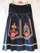Rare! Vtg 70s Hippy Folk Arts&Crafts Psychedelic Floral Velvet Cord Skirt Black