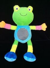 Carters Poseable Velour Stripe Frog Rattle Plush Soft Toy Stuffed  10""