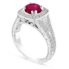 Vintage Style Ruby Engagement Ring, Platinum Wedding Ring Hand Engraved 1.58 Ct
