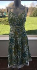 Marks & Spencer Per Floral Print Skater Tea Sun Dress Green UK 16 CO78 Cotton
