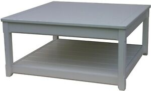TRADE WINDS COTTAGE COFFEE TABLE TRADITIONAL ANTIQUE SQUARE GRAY PAINTED
