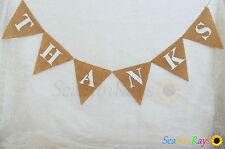 Thanks Hessian Bunting Decorations Wedding Baby Shower Garland Birthday Bridal