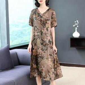 Elegant Women V-Neck Silk Short Sleeve Maxi Robe Dress Knee Length Casual Gown L