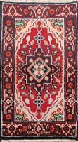 Geometric Indo Heriz Oriental RED Area Rug Hand-knotted Wool Foyer Carpet 2x3 ft