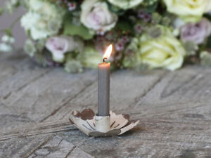 Antique Cream Metal Candle Holder, Rustic Flower Dinner Taper Candlestick