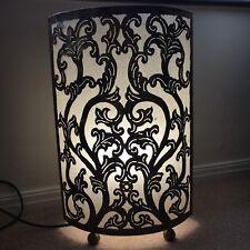 Unusual Table/Floor Lamp with 'Brass' Fretwork, Hessian Shade & 'Brass' Feet