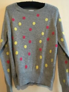 Kenar Grey 100% Cashmere Jumper With Pink /Yellow Spots . Size Large.