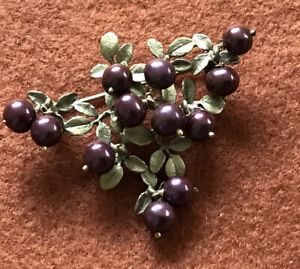 Purple Berry Brooch Signed