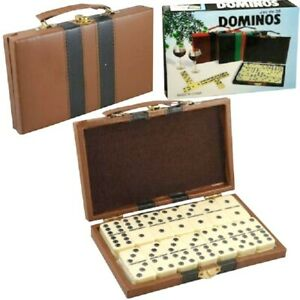 DOMINOES DOUBLE SIX LEATHERETTE CASE STANDARD SIZE TILE THICK 28 PC DOMINO GAME