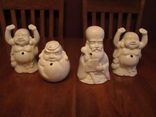 Four White Ceramic Tiki Glasses Raise The Roof Budda Head Old Guy With Fan
