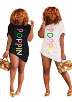 Women Short Sleeves Colors Letter Print Casual Club Party Mini Shirt Dress