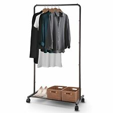 Industrial Style Portable Clothing Rack Full Height 28 Inches Wide + Shelf