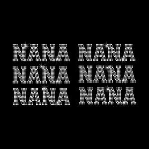 "Rhinestone Transfer "" NANA 2 inch Tall  "" 6 pcs. Iron On, Hotfix , Bling"