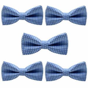 5 PCS Kids Boy Bow Tie White Polka Dots Party School Wedding Adjustable Bowtie