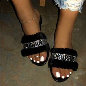 Okuurrr Bling Fur Slippers