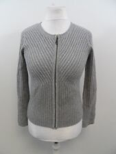 Pure Collection Cashmere Knitted Zip Up Jacket Grey Ladies Size 8 Box44 49 B