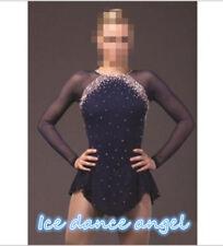 New Ice Figure Skating Dress Figure skaitng Dress For Competition Navy handmade