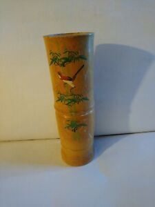 """Vintage Real Bamboo Finch design Vase 12"""" Tall -hand painted"""