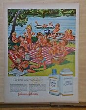 1956 magazine ad for Johnson's Baby products - Babies have picnic, colorful fun