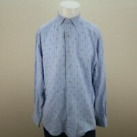 Robert Graham Blue White Long Sleeve Striped Embroidered Inn Casual Shirt Mens L