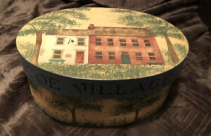 "1989 Hand Painted Oval Shaker Style Wooden Box ""Roscoe Village"" Coshocton Ohio"