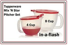 TUPPERWARE CLASSIC MIX N STOR PITCHER SET 2 Measuring Pitchers 4 & 8 CUP STORE