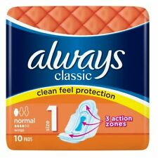 Always Classic Normal Pads With Wings - 10 Pads - Size 1