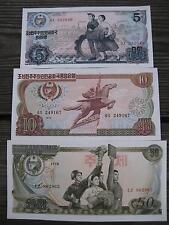 KOREA 1978 5/10/50 WON UNCIRCULATED (3) BANKNOTE SET BUY FROM A USA SELLER !!