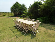 Ensemble salon de jardin en teck BATAN 8 chaises 2 fauteuils