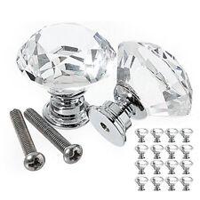 8/16/32 x Clear Crystal Glass Door Knobs Cupboard Drawer Cabinet Kitchen Handles