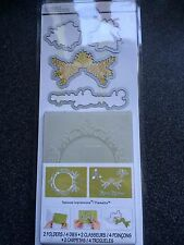Sizzix Ornamento Set #2 4 muore 2 embossing folders Natale CORONA TELAIO Holly