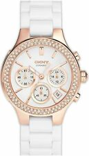 DKNY CERAMIC CHRONOGRAPH WHITE DIAL STAINLESS STEEL WOMEN'S WATCH NY8215