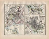 1900 Victoriano Mapa ~ New York Washington Nicaragua Canal Alrededores Town
