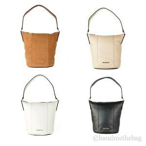 Michael Kors Brooke Medium Pebbled Leather Bucket Crossbody Messenger Hand Bag