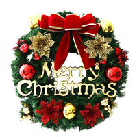 "12"" Christmas Xmas Wreath Door Hanging Decoration Ornament Flower Garlands Bow"