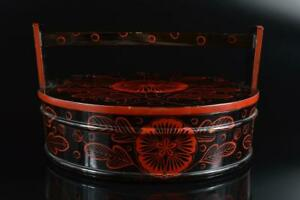 #5391: Japanese Wooden Lacquer ware Flower lacquer FOOD BOXES Jubako Lunch Box