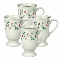 Pfaltzgraff Christmas Winterberry Set of 4 Footed Coffee Hot Chocolate Tea Mugs
