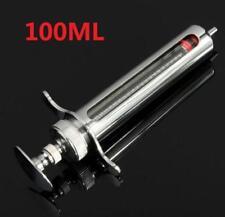 DZ1120 Adjusted Stainless Steel metal Syringe Glass Sampler Lab 100CC 100ML ✿