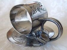 ROGER SMITH & CO FIGURAL SILVER PLATE LILY PAD FLORAL #168 NAPKIN RING USA