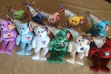 Ty Beanie Baby BIRTHDAY Bear (w/ Party Hat) - Full Set Of 12 Months
