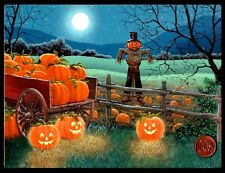 Halloween Scarecrow Moon Pumpkins Wagon Meadow  GLITTERED  - Greeting Card - NEW