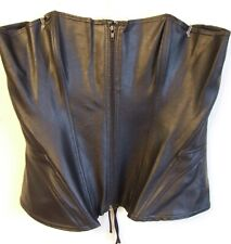 FAB BLACK LEATHER LOOK  BONED ZIP STRAPLESS CORSET  BASQUE SIZE  20 NEW