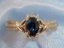 14K Yellow Gold Ring, 6 x 4 Natural Sapphire, 8, 1.2mm Diamonds, Size 7