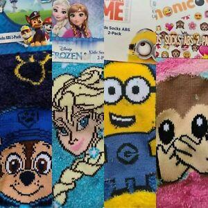 Kids Character Slipper Socks 2 PACK Cosy Grip Fluffy Childrens Christmas Gift