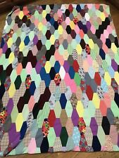 Vintage Quilt Blanket Double Knit Fabric 70s Craft Elongated Hexagons Twin Full