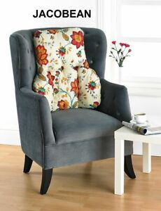 BACK & LUMBAR SUPPORT CUSHION - Traditional Jacobean Floral Print - MADE IN UK