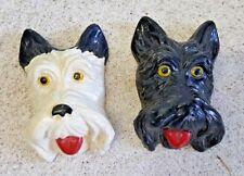 "Pair Vintage Scotty Scottie Scottish Terrier Dogs Chalkware Wall Hangers 3.25"""